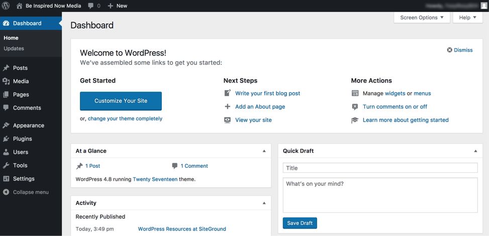 Familiar with WordPress Dashboard